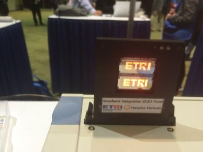 ETRI transparent OLED display with graphene electrodes (SID 2016, photo)