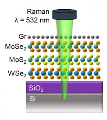 Cross-section schematic of Gr/MoSe2/MoS2/WSe2 sandwich on SiO2/Si substrate image