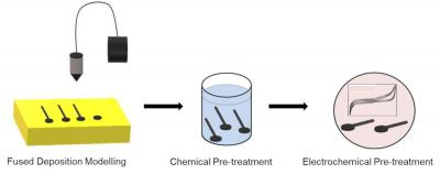 Schematic representation of the fabrication from graphene/polylactic acid filaments of 3D-printed graphene electrodes and their pre-treatment for the detection of ZEA image