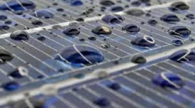Solar panels in rain image