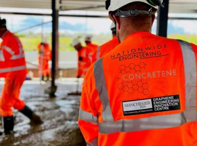 Team from The University of Manchester and Nationwide Engineering laying the world's first graphene concrete image