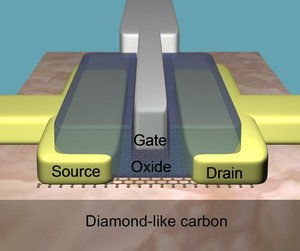 IBM Graphene transistor on a diamond-like substrate (photo)