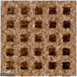 Part of a large array generated by electron-beam lithography, containing ferromagnetic hydrogenated graphene lattice and the 50 nm nonmagnetic squares